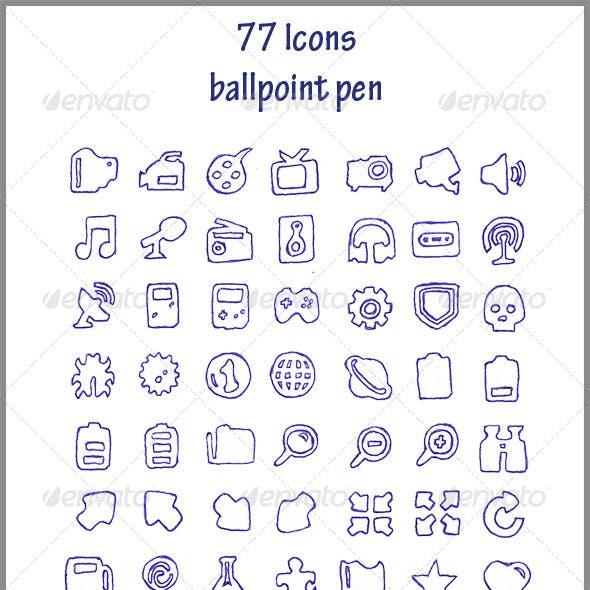 77 Icons (ballpoint pen)