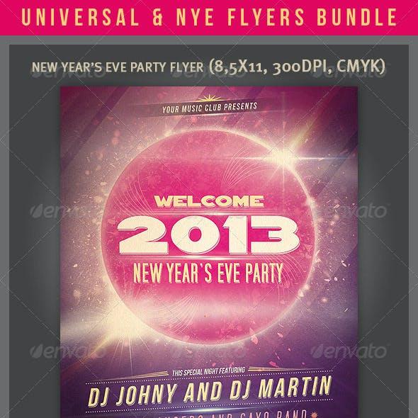 Universal & NYE Party Flyers Bundle