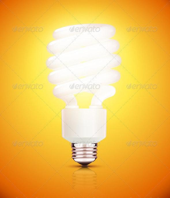 Orange Fluorescent Lightbulb - Man-made Objects Objects