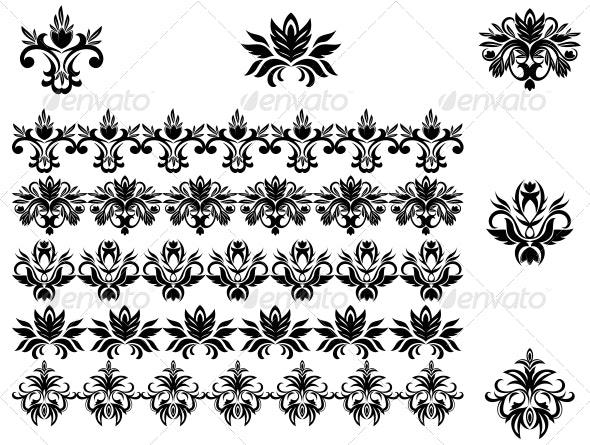Flower Patterns and Borders - Decorative Symbols Decorative