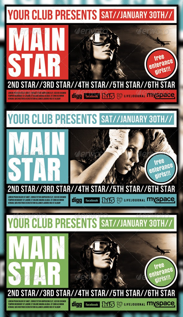 Squared Flyer Template - Clubs & Parties Events
