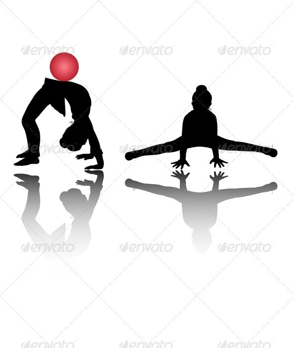Silhouettes of Girl Gymnasts - Sports/Activity Conceptual