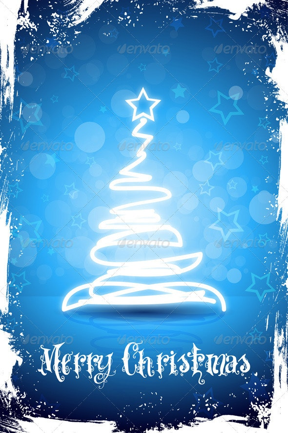 Grungy Merry Christmas Card - Christmas Seasons/Holidays