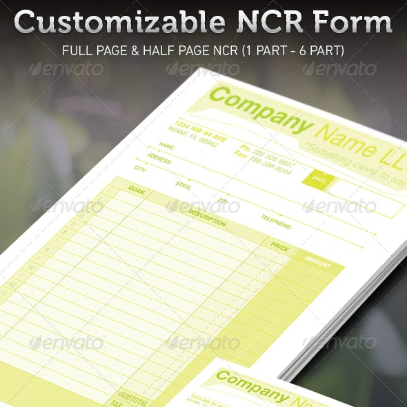 Customizable NCR Form Template