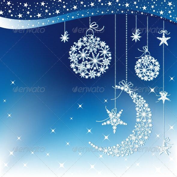 Blue Christmas Background with Moon and Star - Christmas Seasons/Holidays