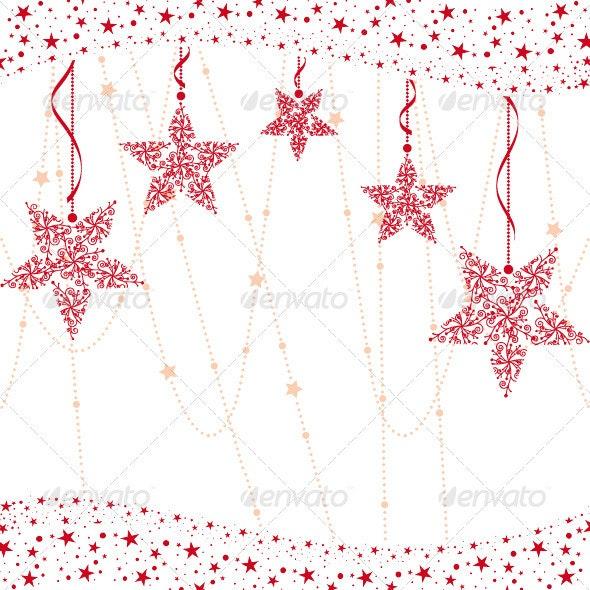 Abstract Red Christmas Snowflake Greeting Card - Christmas Seasons/Holidays