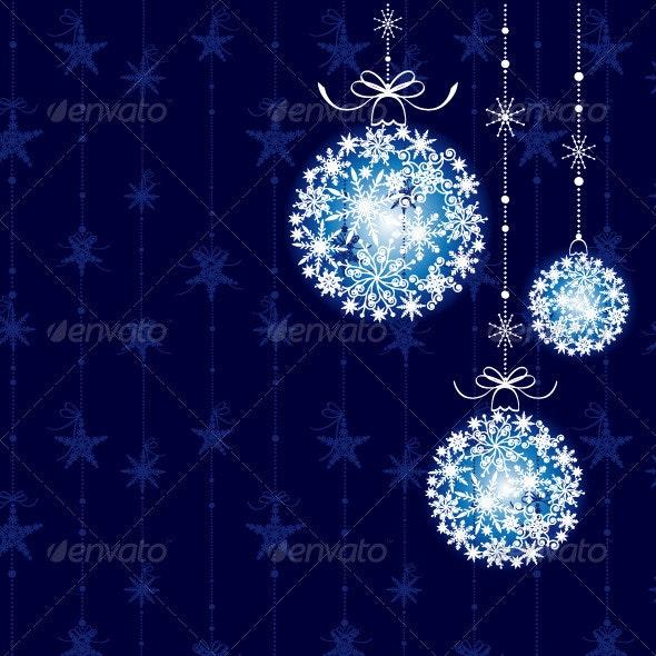 Christmas Decoration on Blue Background - Christmas Seasons/Holidays