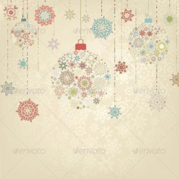 Beige Background with Christmas Balls - Christmas Seasons/Holidays