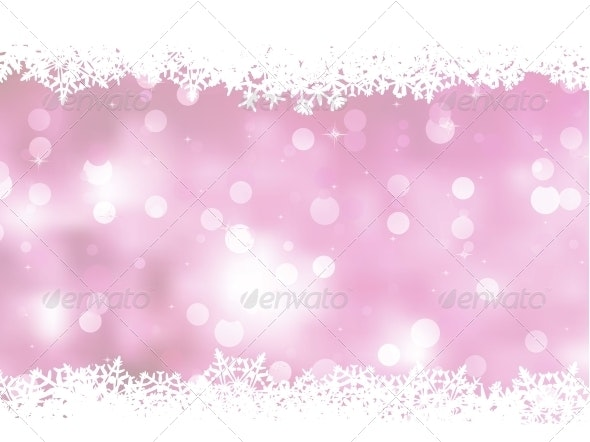 Pink Background with Snowflakes - Christmas Seasons/Holidays