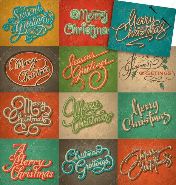 Christmas Vintage Cards Set (Vector) - Christmas Seasons/Holidays