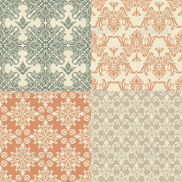 Vector Seamless Vintage Wallpaper Patterns - Patterns Decorative