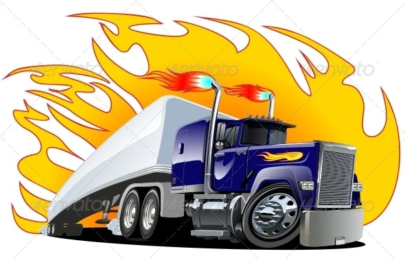 Vector Cartoon Semi Truck. One-Click Repaint - Man-made Objects Objects