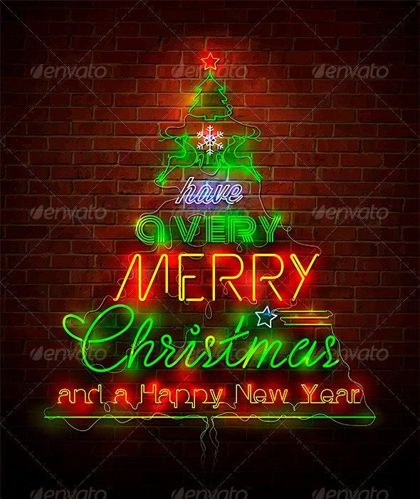 Christmas Neon Sign Against Red Wall - Christmas Seasons/Holidays