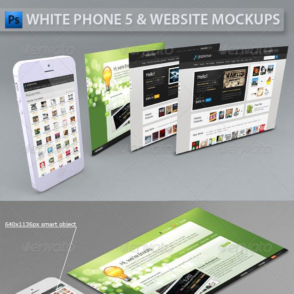 White Phone 5 and Website | App Mockup