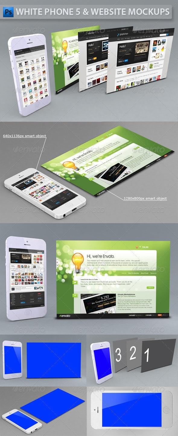 White Phone 5 and Website   App Mockup - Multiple Displays