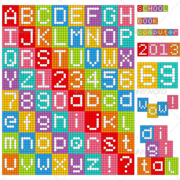 Pixel Alphabet - Decorative Symbols Decorative