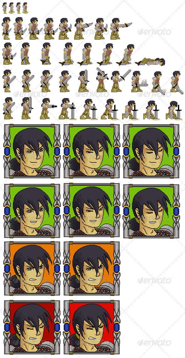 Sprite Sheet - Swordsman Kit - RPG  - Sprites Game Assets