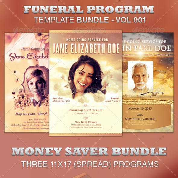 Funeral Program Template Bundle-Vol 001