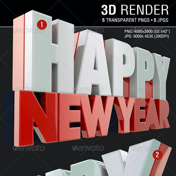 Happy New Year 3D Render