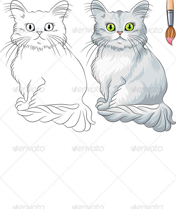Vector Coloring Book of Tiffany cat  - Animals Characters