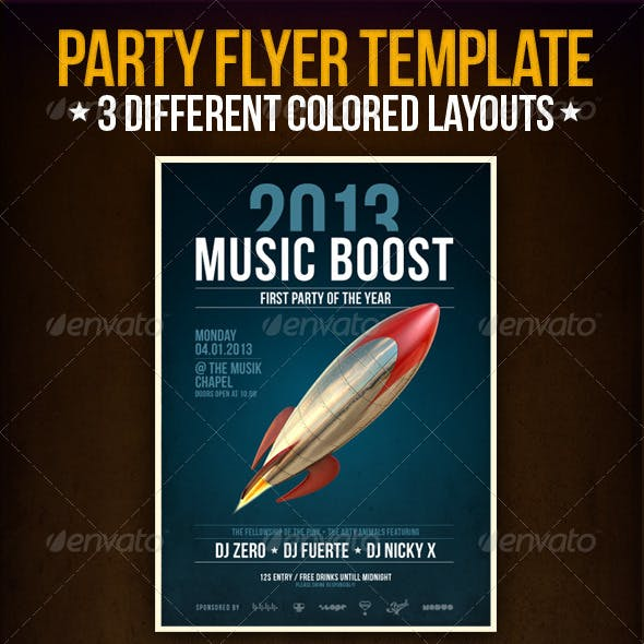 Music Boost Party Flyer Template