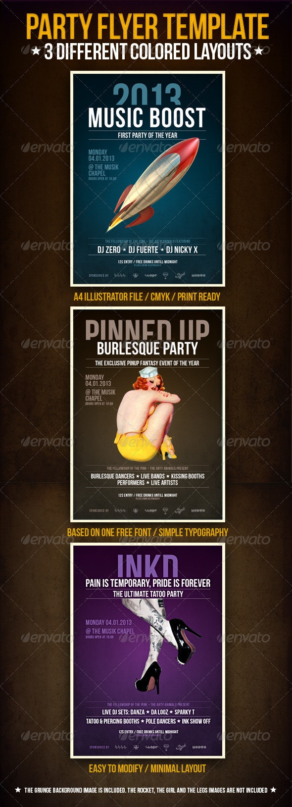 Music Boost Party Flyer Template - Clubs & Parties Events