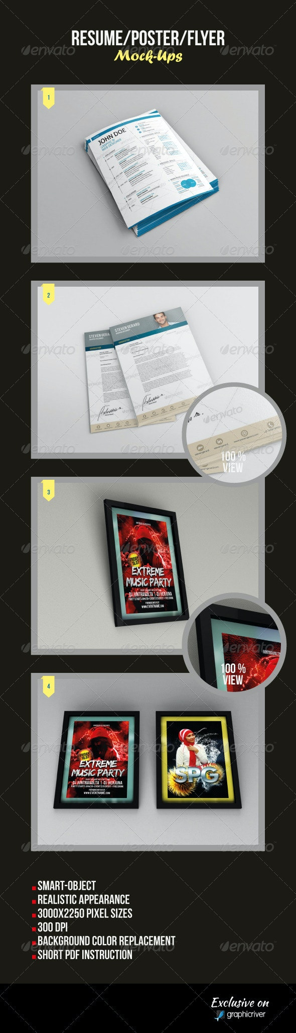 Resume/Poster/Flyer Mock-Ups - Flyers Print