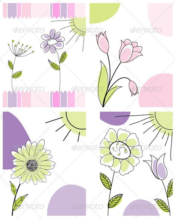 Sketched Greeting Card Set - Backgrounds Decorative