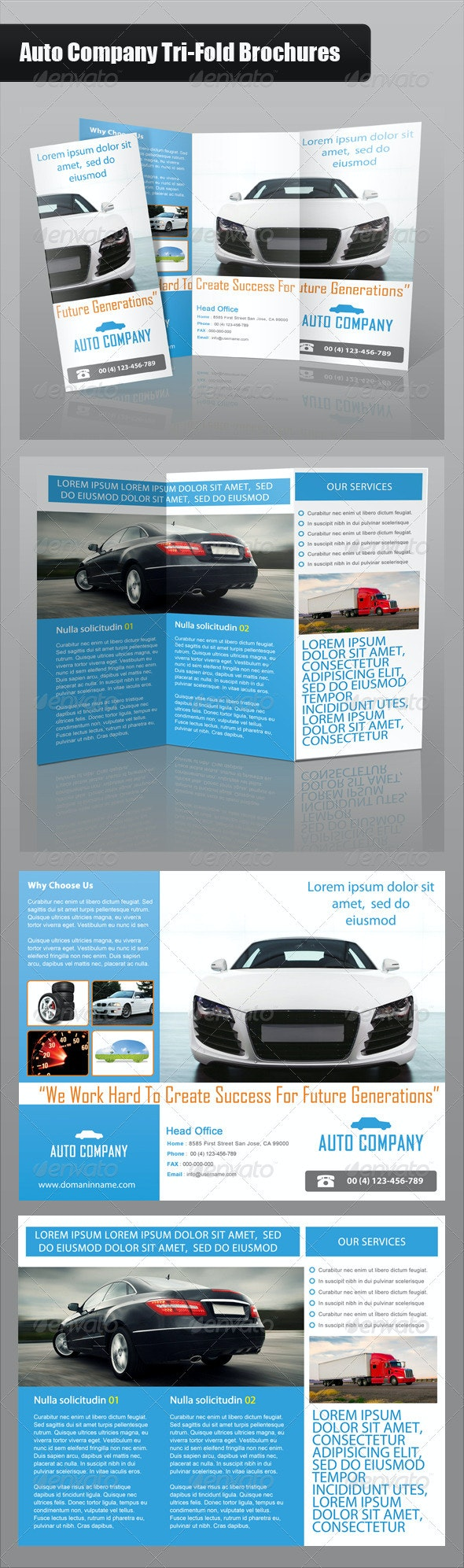 Auto Company Tri-Fold Brochure - Brochures Print Templates