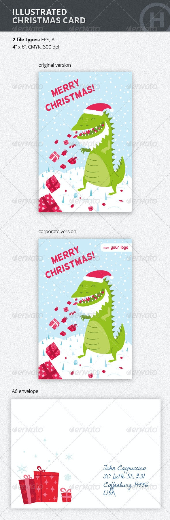 Illustrated Christmas Card with Godzilla - Holiday Greeting Cards