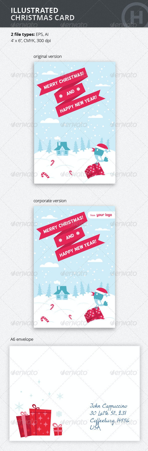 Illustrated Christmas Card with Bird - Holiday Greeting Cards