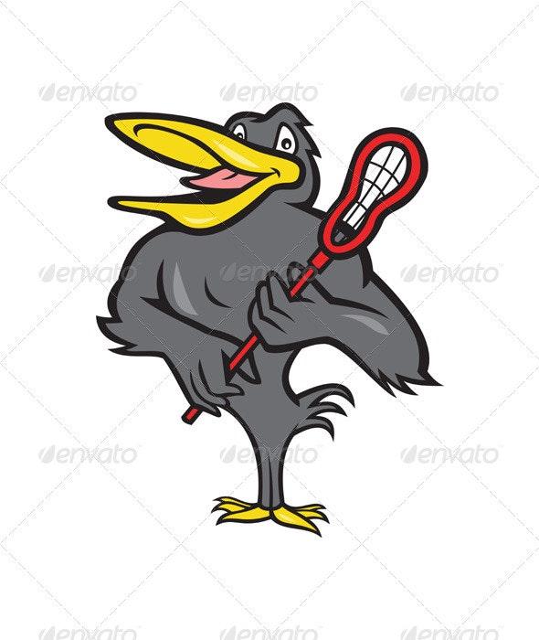 Blackbird With Lacrosse Stick Cartoon  - Animals Characters