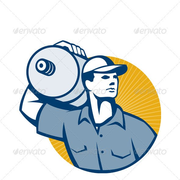Delivery Worker Carrying Water Jug Retro
