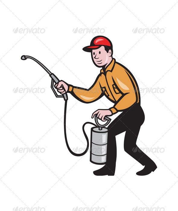 Pest Control Exterminator Worker Spraying Cartoon  - People Characters