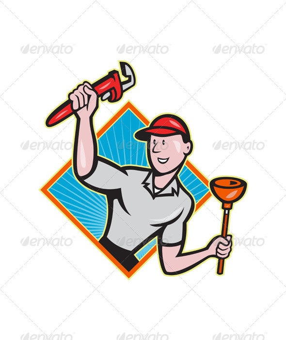 Plumber With Monkey Wrench And Plunger Cartoon  - People Characters
