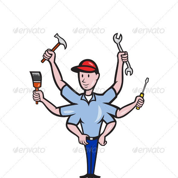 Tradesman Carpenter Mechanic Plumber Cartoon