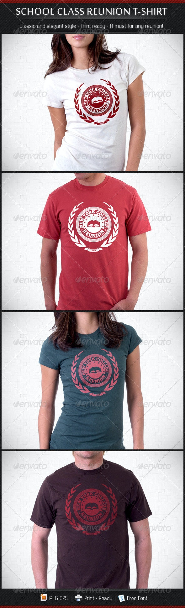 School Class Re-Union T-Shirt Template - Events T-Shirts