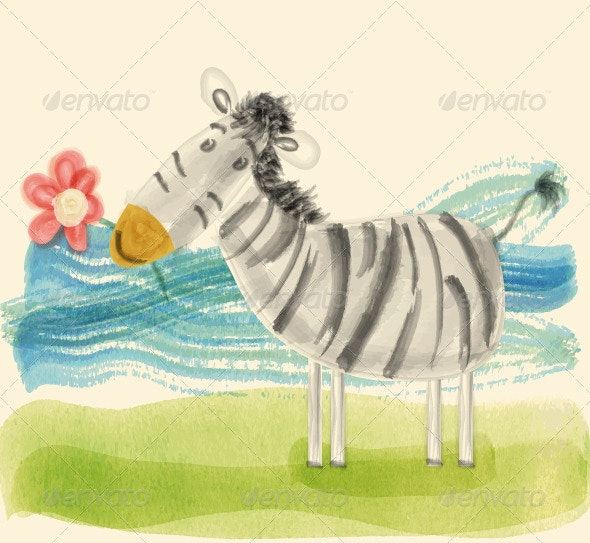 Zebra with Flower - Animals Characters