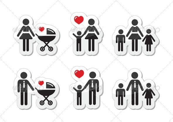 Single Parent Sign - Family Icons as Labels - People Characters