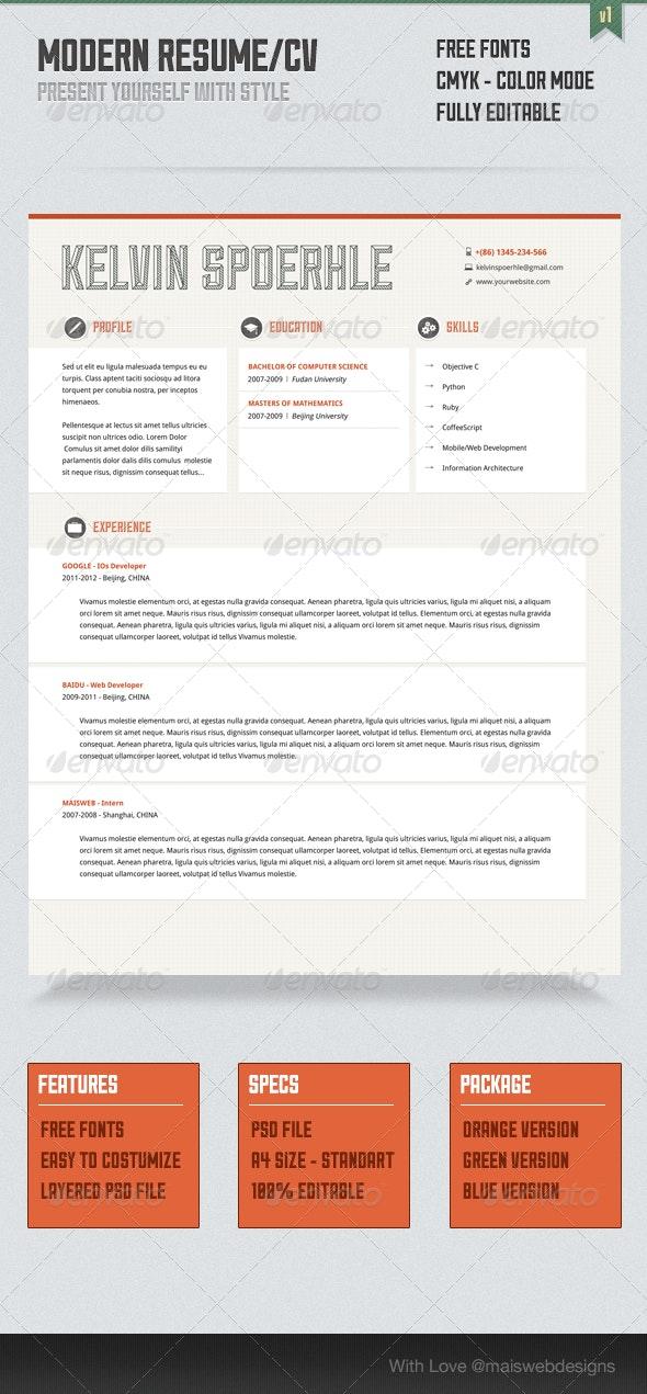 Modern Resume/CV - Resumes Stationery