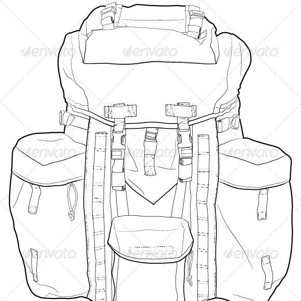 Military, Hiking Backpack Outline