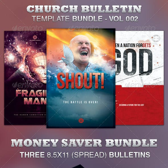 Church Bulletin Template Bundle-Vol 002