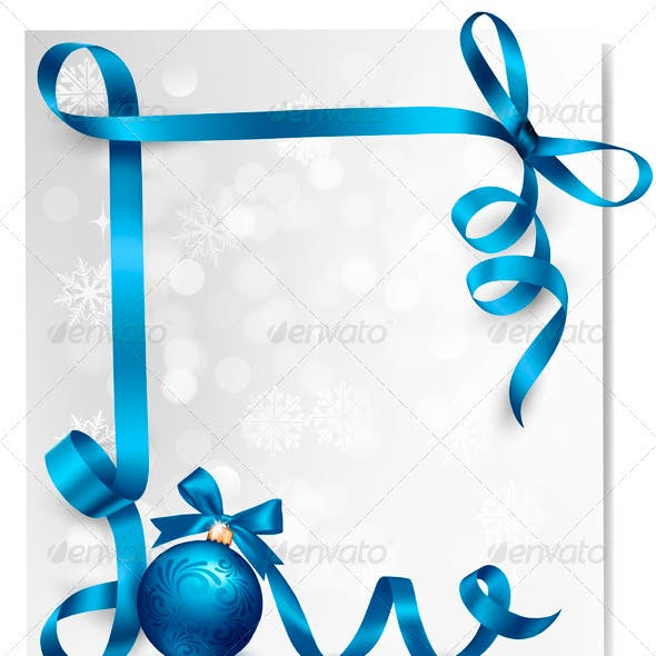 Holiday Background with Blue Gift Ribbons