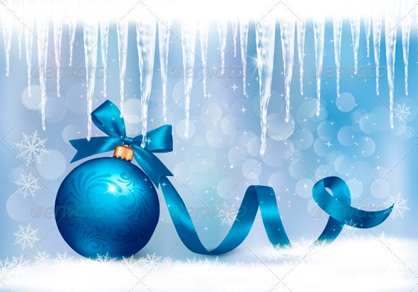 Holiday Background with Blue Gift Blue Ball - Christmas Seasons/Holidays