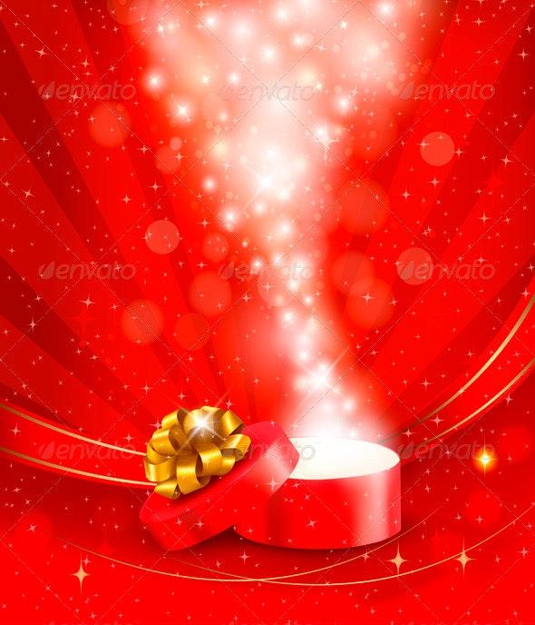 Christmas Background with Open Magic Box - Christmas Seasons/Holidays
