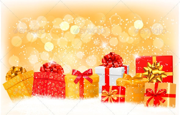 Christmas Background with Gift Boxes and Snowflake - Christmas Seasons/Holidays