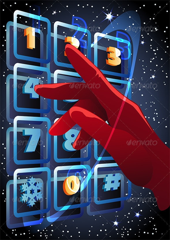 The Hand Pressing the Buttons with Figures - New Year Seasons/Holidays