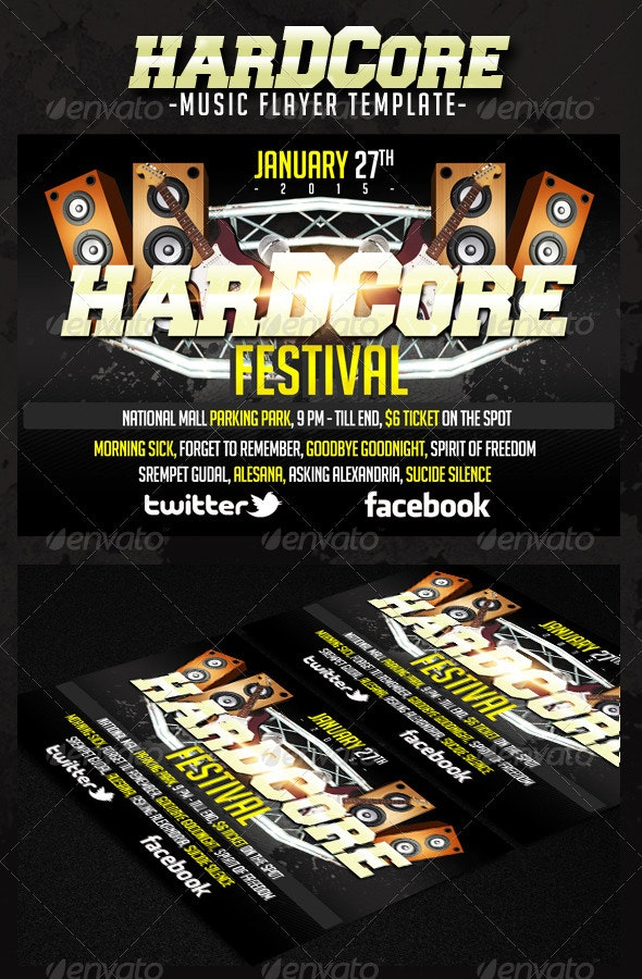 Hardcore Music Flyer - Concerts Events
