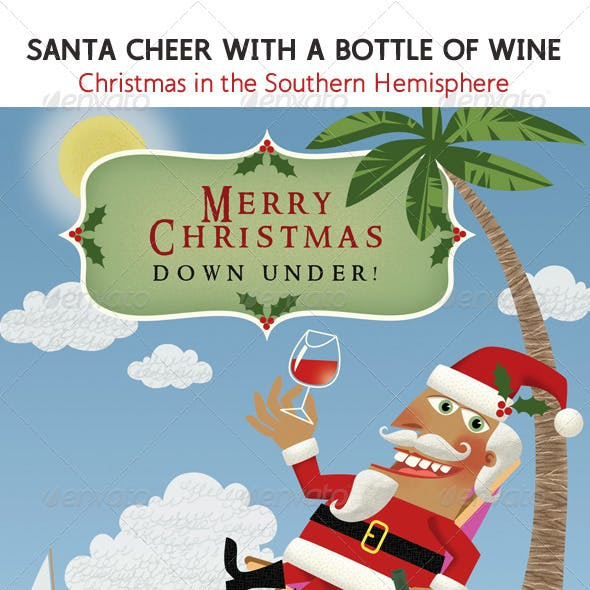 Santa in the South;  with a Glass of Wine