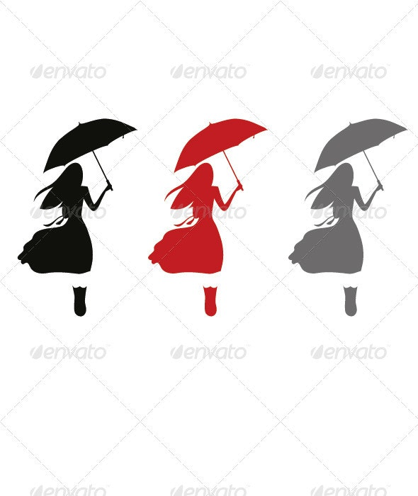 Woman with Umbrella - People Characters